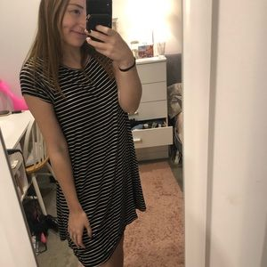 Old Navy Black and White Striped T-Shirt Dress